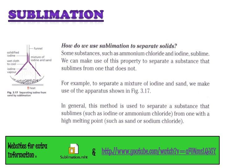 Experimental chemistry: sublimation, use of separating funnel and pap…