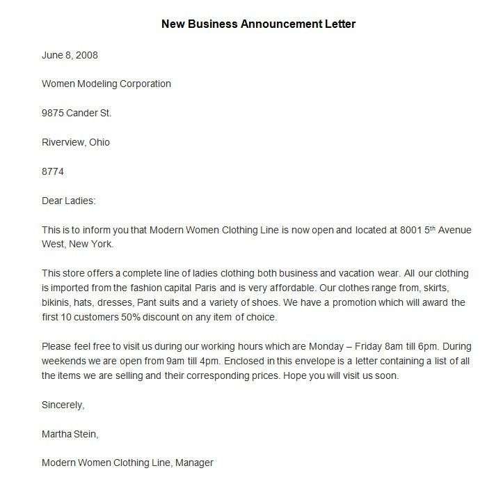 letter announcing new business