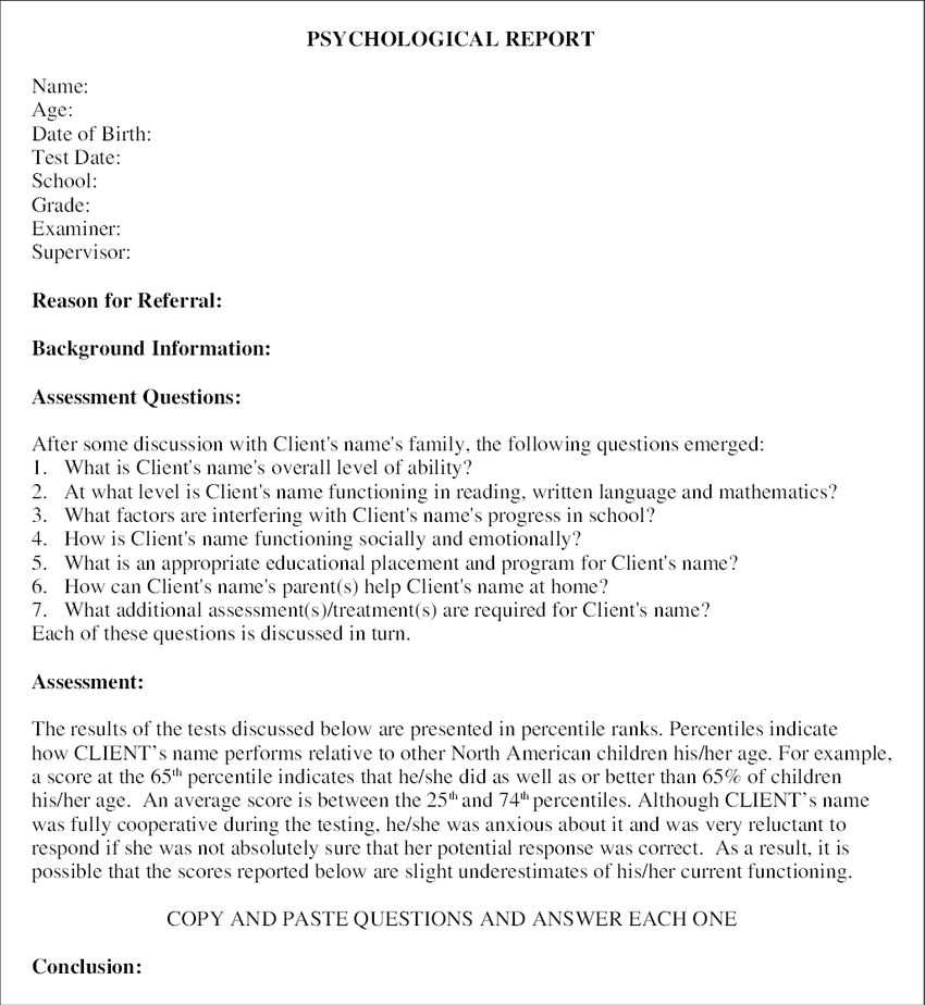 Template for question and answer format reports Note: Report ...