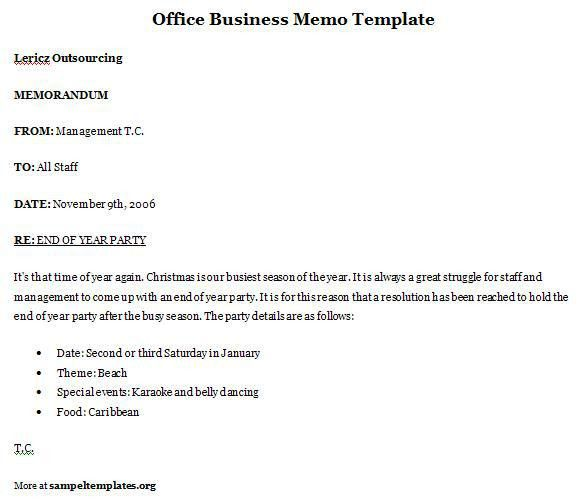 Simple and Effective Office Business Memo Template Example ...
