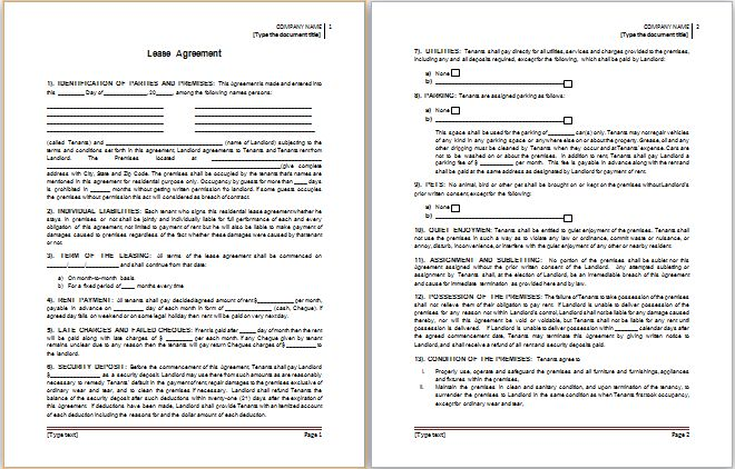 MS Word Lease Agreement Template | Word Document Templates