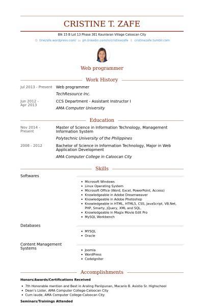 Web Programmer Resume samples - VisualCV resume samples database