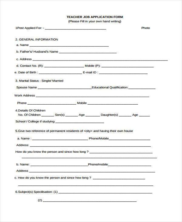 35+ Free Job Application Form Template