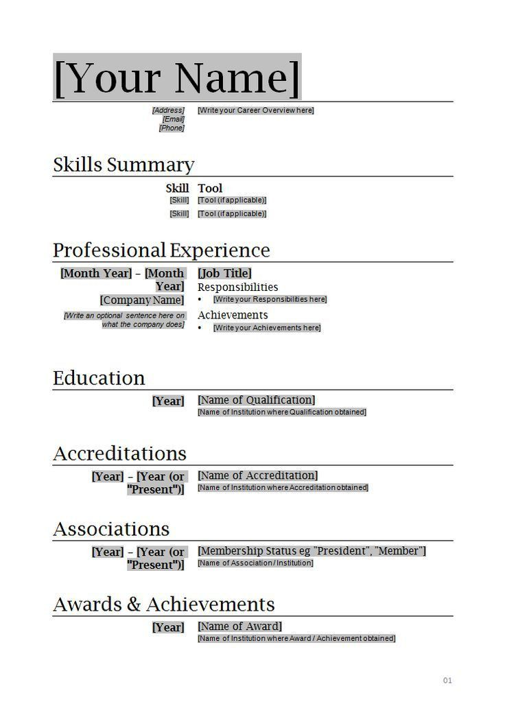 Free Basic Resume Templates Microsoft Word | Resume Templates 2017