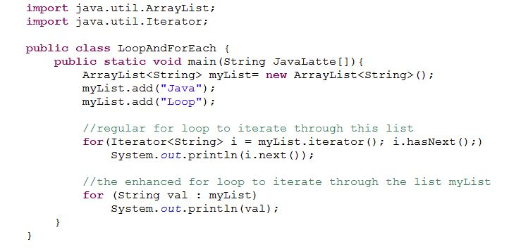 Enhanced for each loop in Java | Java-Latte