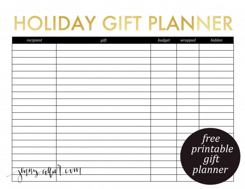 Printable Gift Planner and Christmas Card List » jenny collier blog