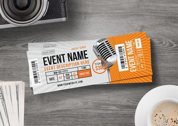 Sleek Concert Ticket Template for only $6 | Designs.net