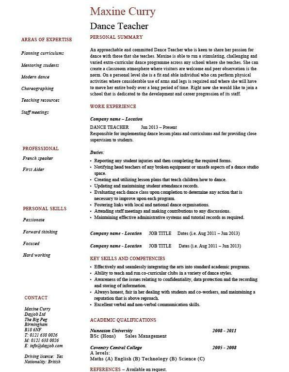 Nice Looking Dance Resume 5 Dance Teacher Resume Dancing Job ...