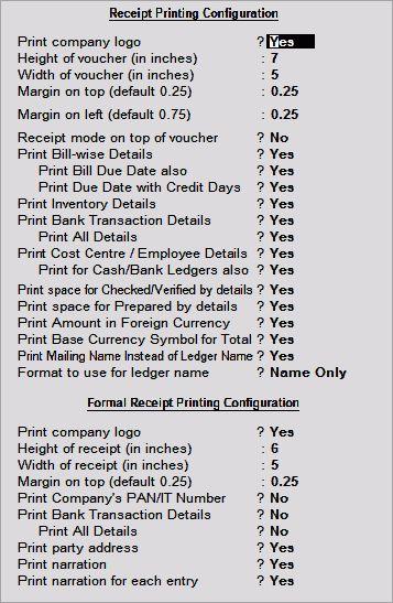Printing Receipt Voucher as Formal Receipt in Tally ERP 9 - Tally ...