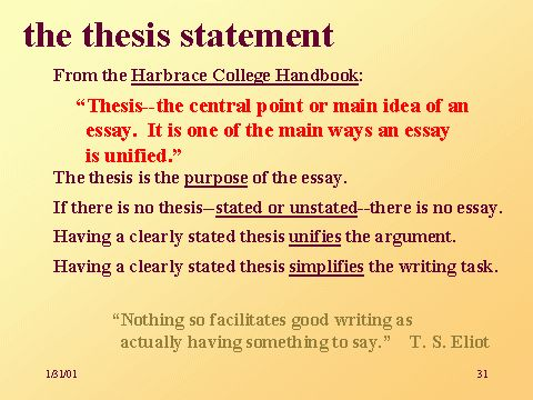 Standpoints and thesis statements