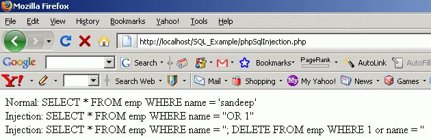 PHP SQL Injection Example