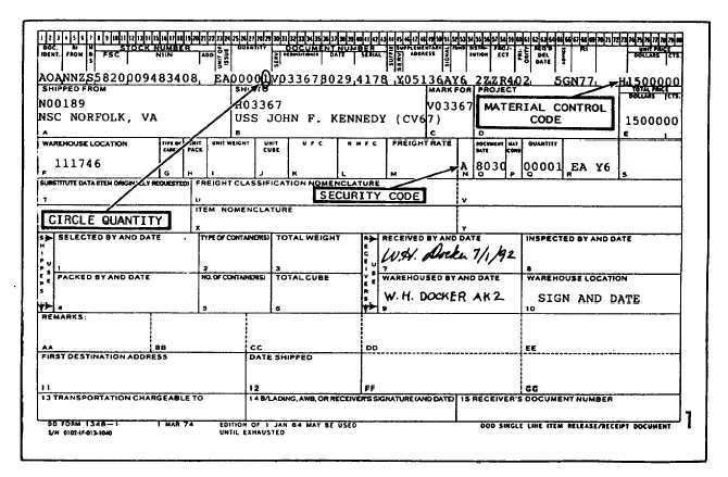 DOD Single Line Item Release/Receipt Document, DD Form 1348-1 ...