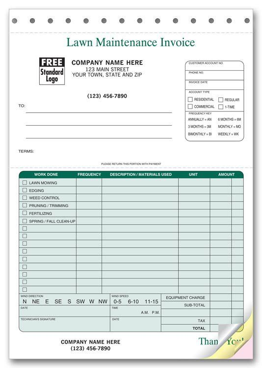 123 Lawn Maintenance Invoices 6 3/8 x 8 1/2""