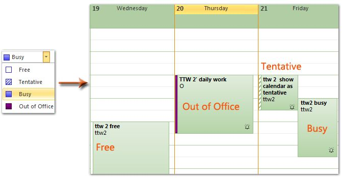 Outlook: Show calendar as busy, free, tentative, and out of office
