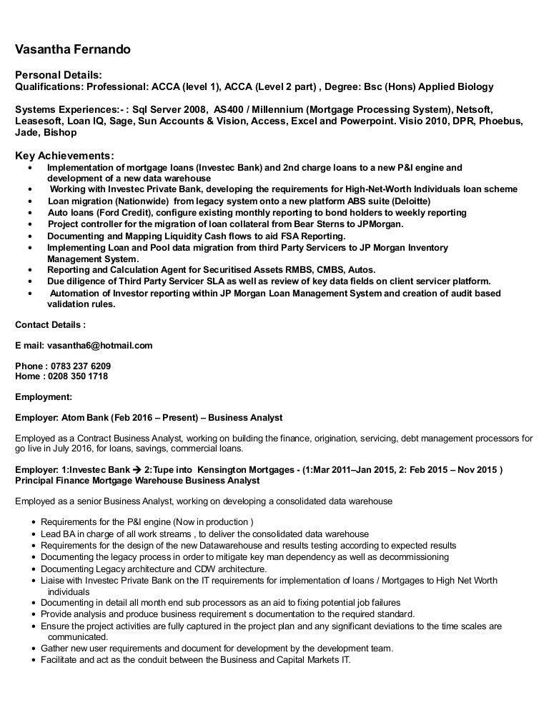 Vasantha Fernando CV and Profile