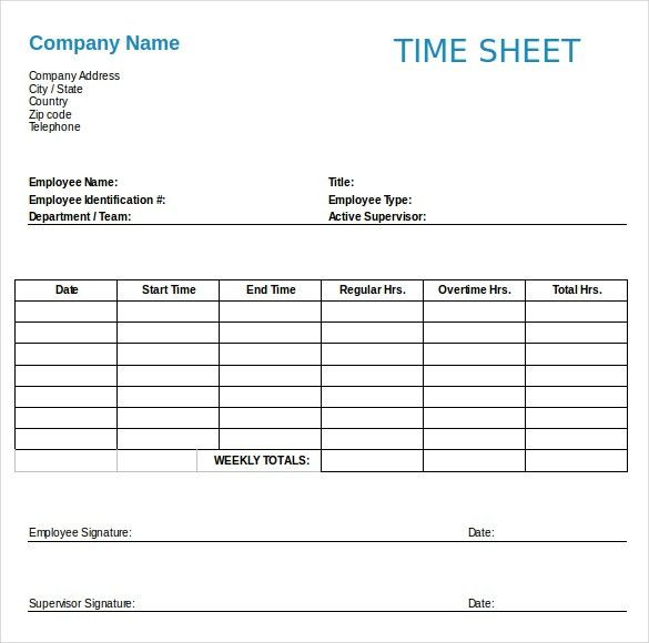 13+ Employee Timesheet Templates – Free Sample, Example Format ...