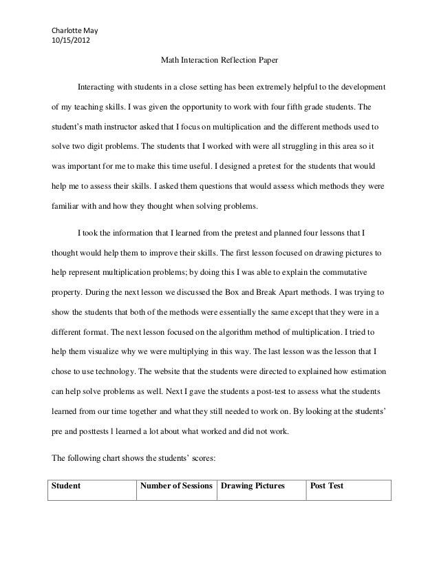 Math interaction reflection paper