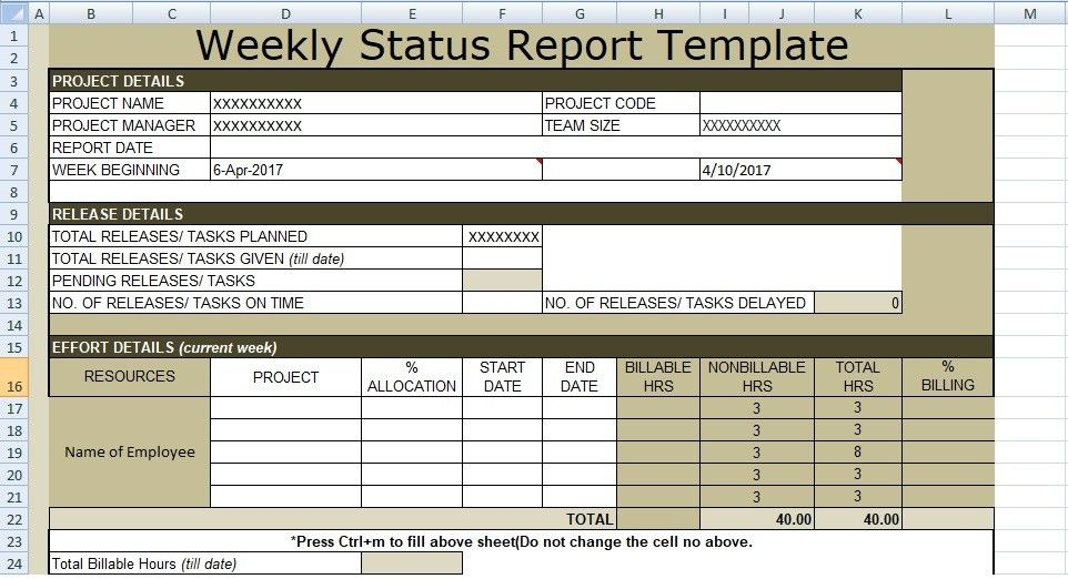 Weekly Report Template - Contegri.com