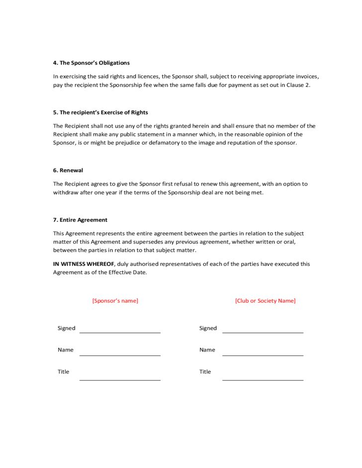 Sponsorship Agreement Free Download