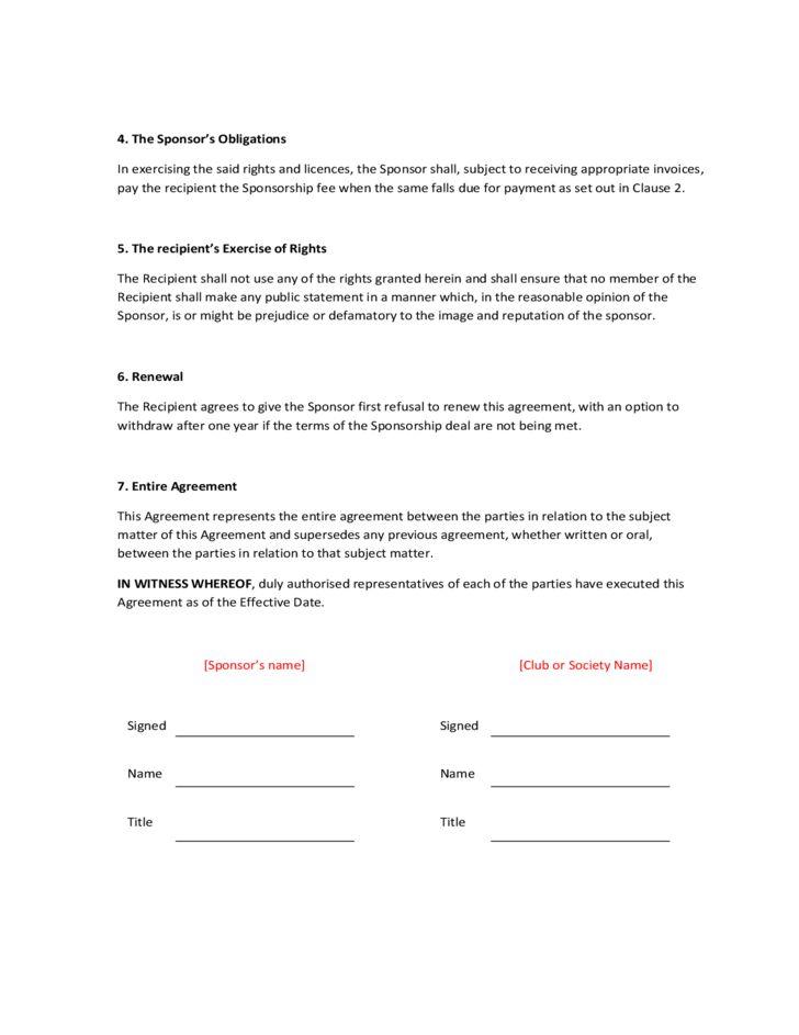 Sponsorship Agreement Free Download