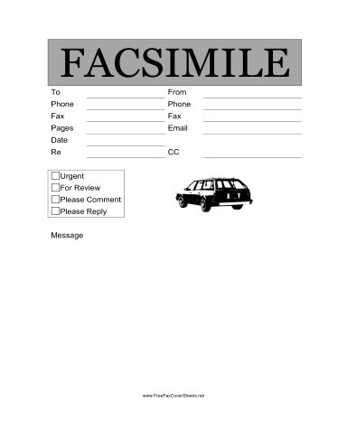 Automotive Fax Cover Sheet at FreeFaxCoverSheets.net