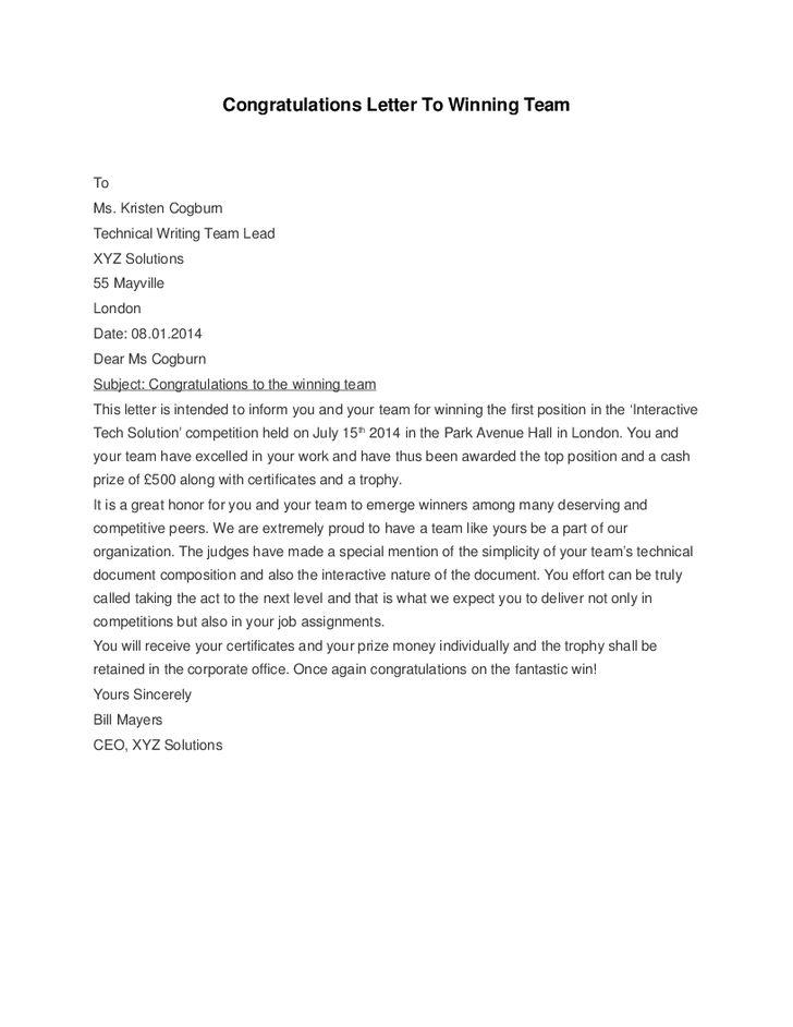 Congratulations Letter to Winning Team - Hashdoc