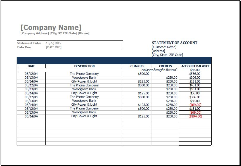 MS Excel Printable Statement of Account Template | Excel Templates