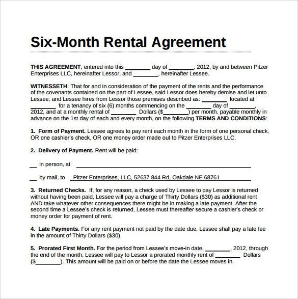 Month To Month Lease Agreement Example. Free Printable Residential ...