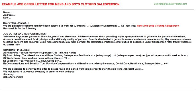 Salesperson Mens And Boys Clothing Offer Letters