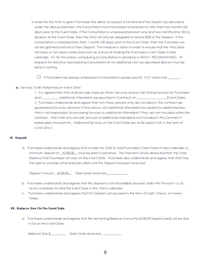 Blank Wedding Contract Template Free Download