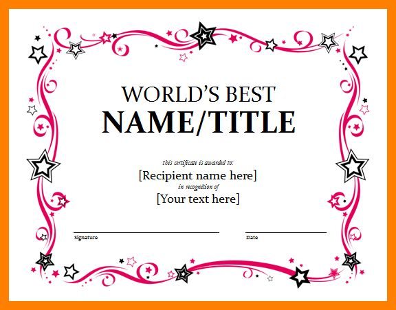 3+ award certificate template word | day care receipts