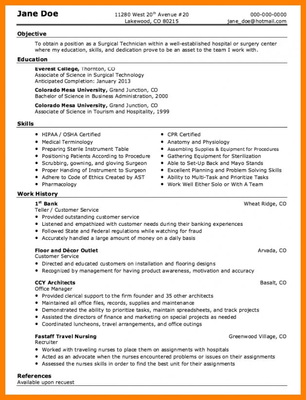 Surgical Tech Resume - Resume Example