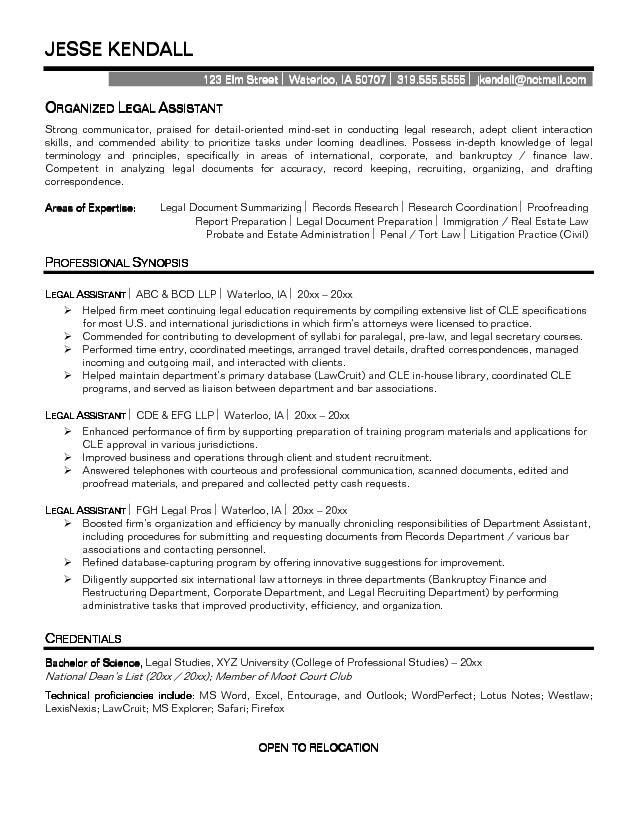 Legal assistant Resume Sample | Experience Resumes