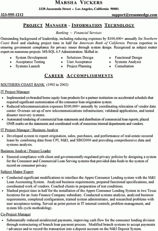 Sample Technical Resume - Information Technology Project Manager