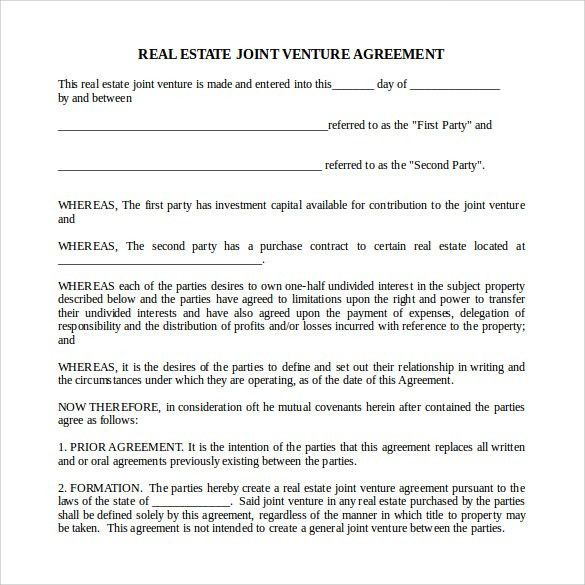 Sample Real Estate Partnership Agreement   9+ Free Documents In .