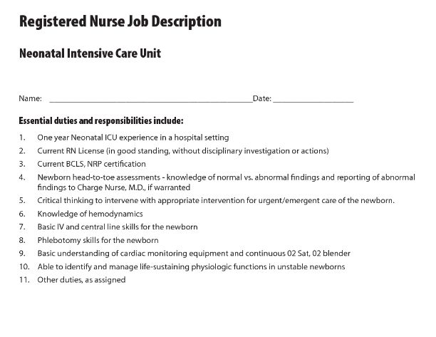 neonatal nurse job duties job description for a pediatric nurse ...