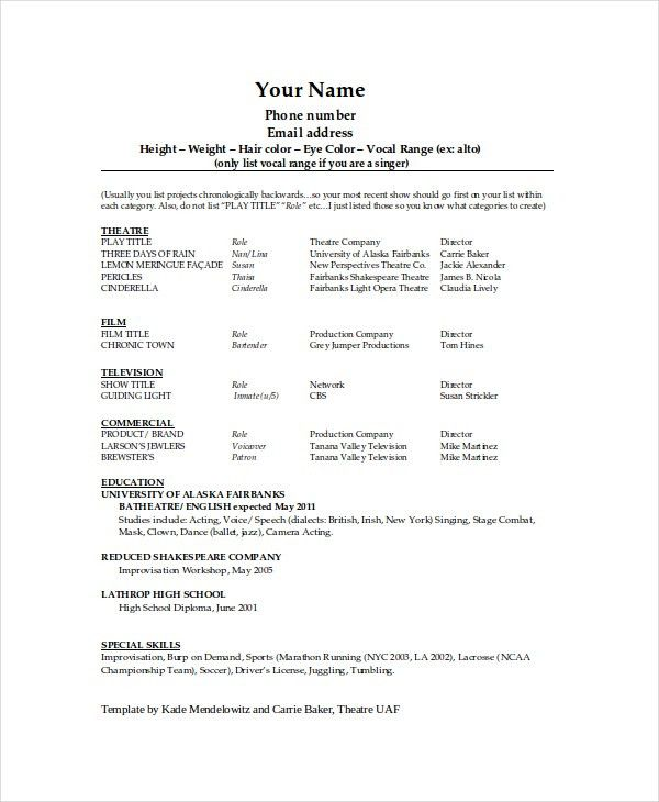 Resume Template On Word. Technical Theater Resume Template Theater ...