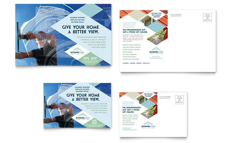 Window Cleaning & Pressure Washing Postcard Template - Word ...