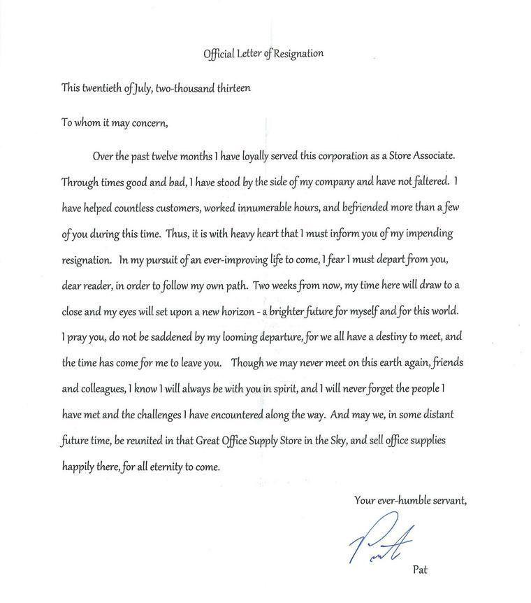 "Rude Resignation Letter. Reddit/Mingalingo08 "" 14 Absolutely ..."