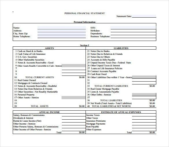 Personal Financial Statement Template. Free Blank Financial ...