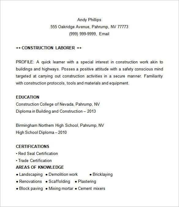 Download Construction Resume Template | haadyaooverbayresort.com