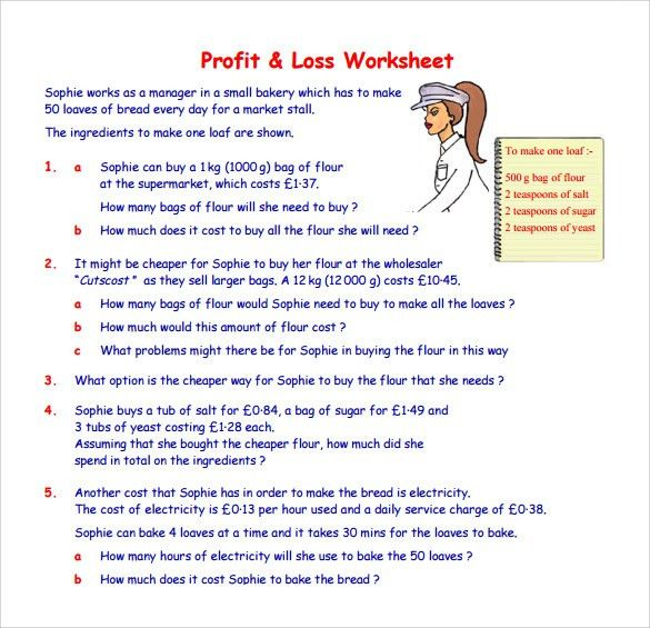 Profit And Loss Worksheet - cv01.billybullock.us