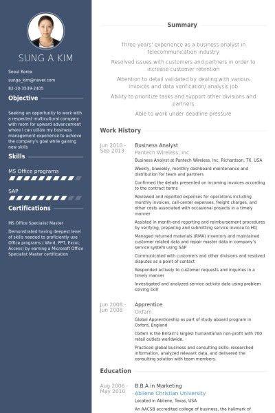 ba resume samples best resume samples for business analyst free ...