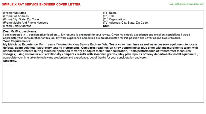 X Ray Service Engineer Cover Letter