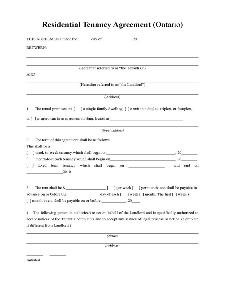 Residential Tenancy Agreement Free Download
