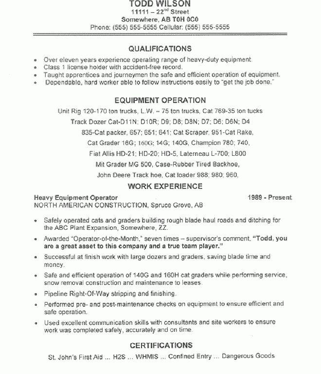 Enjoyable Inspiration Heavy Equipment Operator Resume 9 Equipment ...