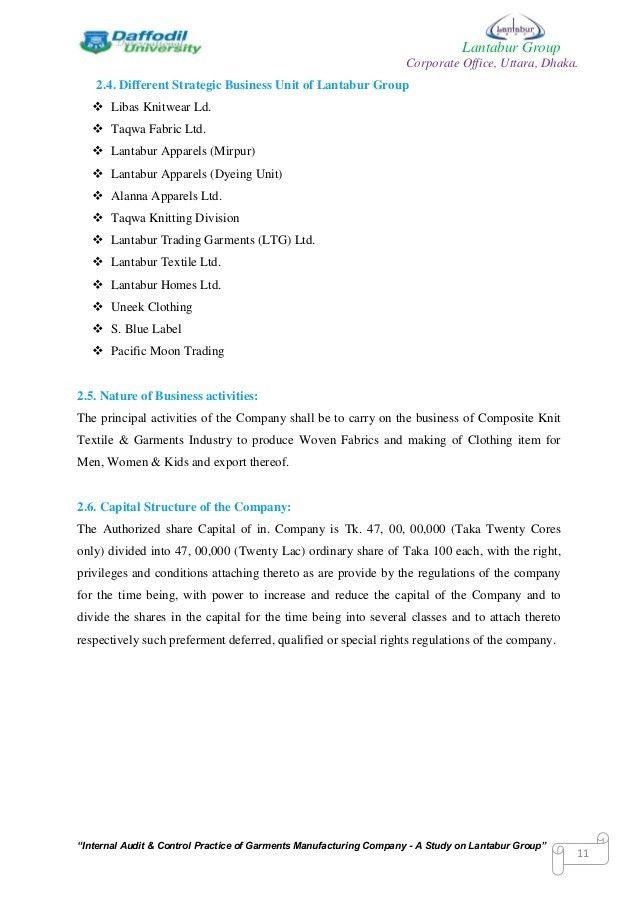 "An Internship Report On ""Internal Audit & Control Practice of Garment…"