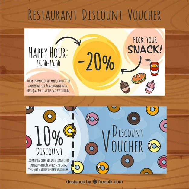 Discount vouchers for food, hand drawn Vector | Free Download