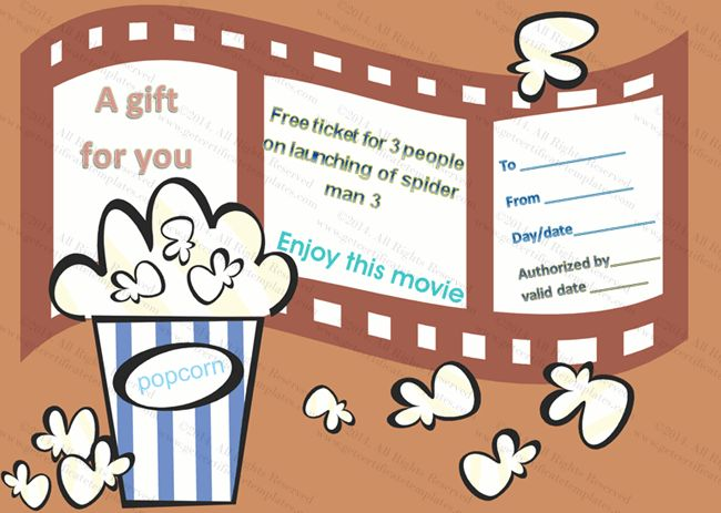 Movie Tickets Gift Certificate Template | Beautiful Printable Gift ...