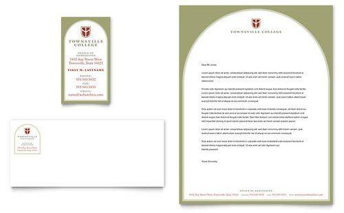College & University Business Card & Letterhead Template - Word ...
